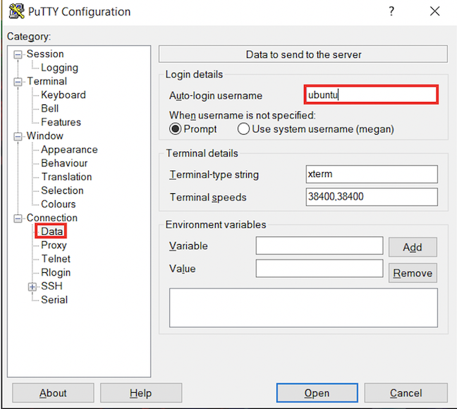 Logging in with putty (Windows)